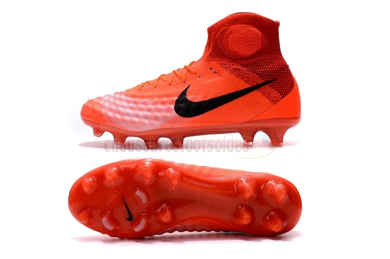 Nike Crampon De Foot Magista obra II FG Orange Noir Rouge