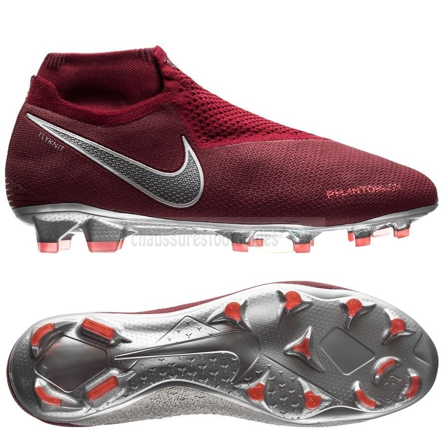 Nike Crampon De Foot Phantom Vision Elite DF FG Rouge