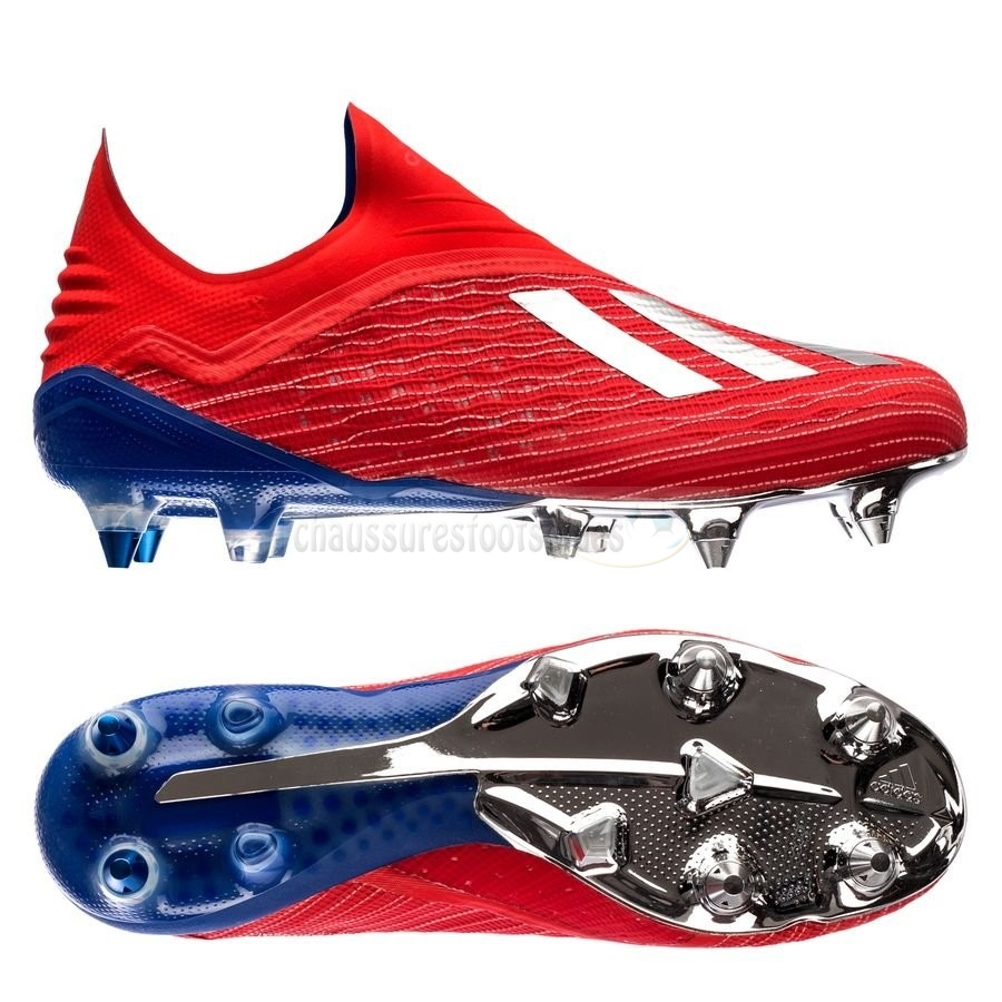 Adidas Crampon De Foot X 18+ SG Exhibit Bleu Rouge
