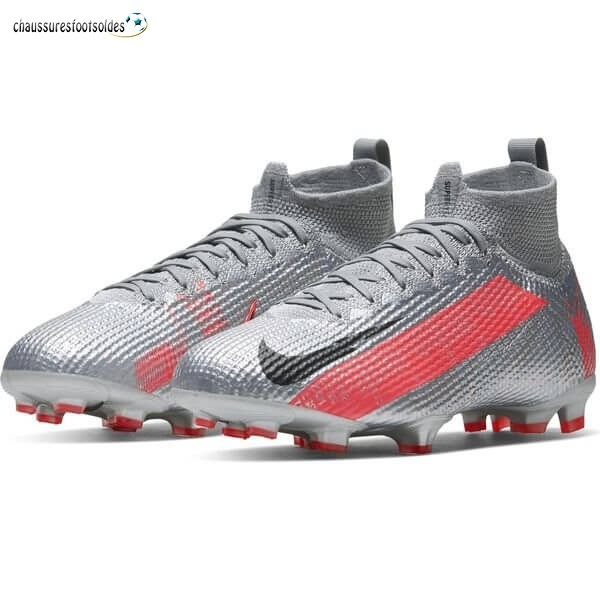 Nike Crampon De Foot Mercurial Superfly 7 Elite Enfants FG Neighbourhood Métallique Gris Noir