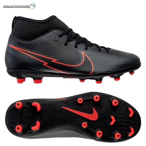 Nike Crampon De Foot Mercurial Superfly 7 Club Enfants MG Noir Rouge