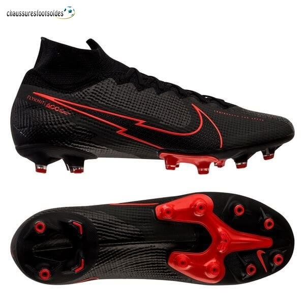 Nike Crampon De Foot Mercurial Superfly 7 Elite AG Noir Rouge