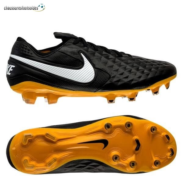 Nike Crampon De Foot Tiempo Legend 8 Elite FG Leather Tech Craft Noir Blanc Or