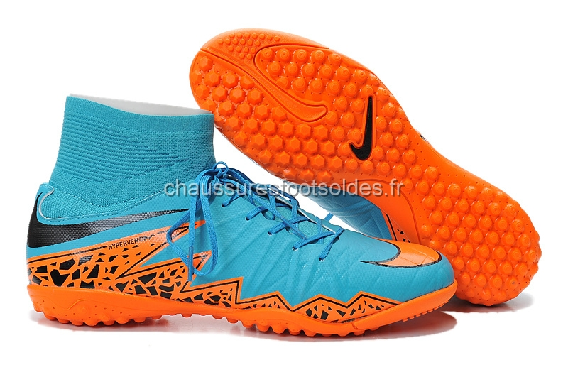 Nike Crampon De Foot HyperVenom Alto TF Bleu Orange Noir
