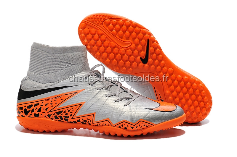 Nike Crampon De Foot HyperVenom Alto TF Gris Orange Noir