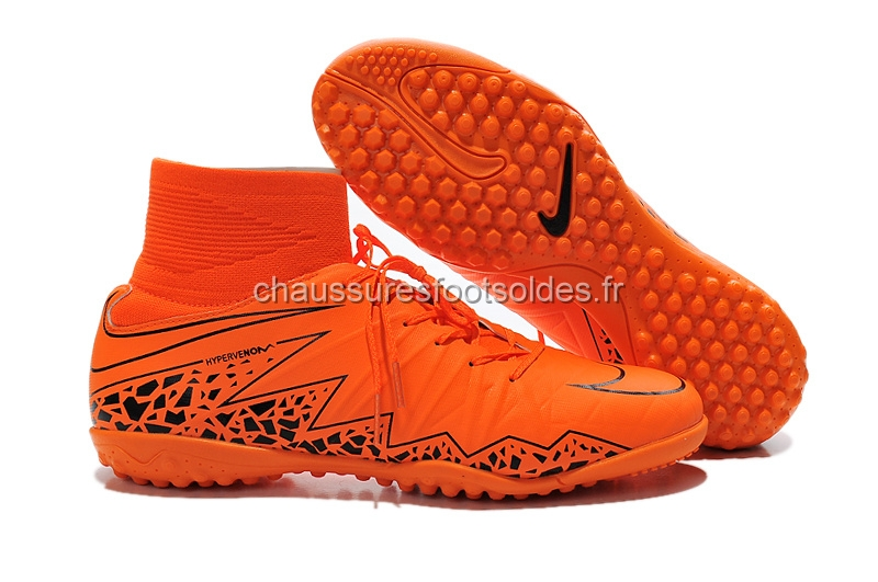 Nike Crampon De Foot HyperVenom Alto TF Orange Noir