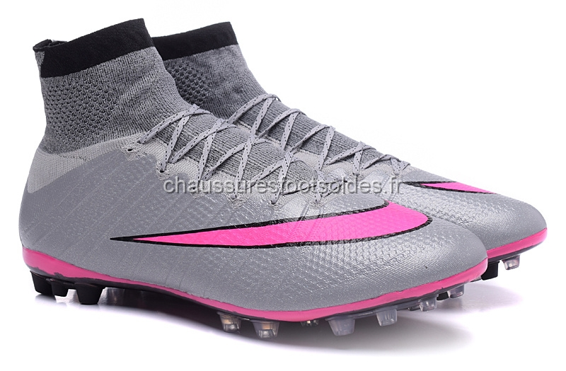 Nike Crampon De Foot Mercurial Superfly AG Noir Gris Rose